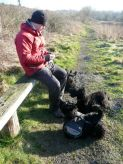 Snack break & of course Gus is leading the demand for a smackeral of something!
